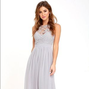 Lulu's Grey Lace Keyhole Gown, Size Small